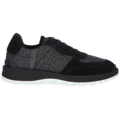 ETRO PAISLEY-PRINT NYLON AND LEATHER SNEAKERS