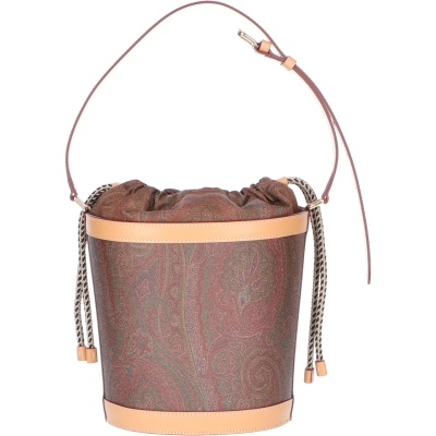 ETRO COATED CANVAS AND LEATHER BUCKET BAG