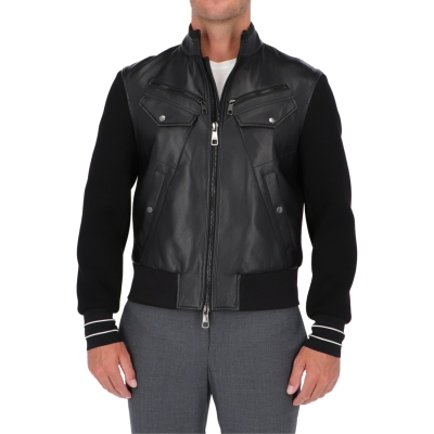 GIACCA BIKER IN PELLE E NEOPRENE NEIL BARRET
