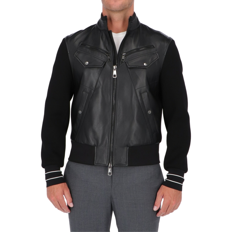 NEIL BARRETT LEATHER AND NEOPRENE BIKER JACKET