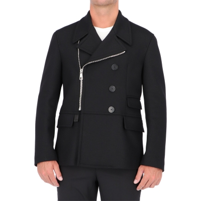 NEIL BARRET ZIP JERSEY PEACOAT