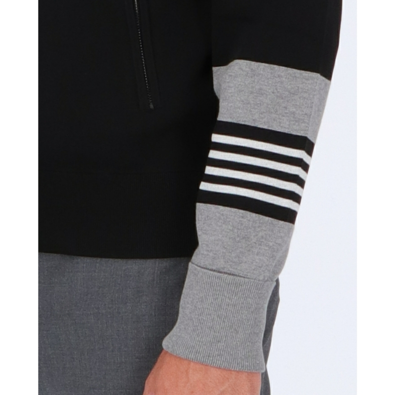 NEIL BARRETT TRAVEL STRIPED CUFF ZIPPED CARDIGAN