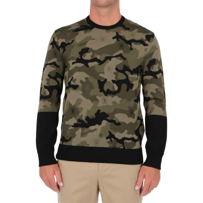 NEIL BARRET STAR MONOGRAM CAMO TECNO KNIT JUMPER