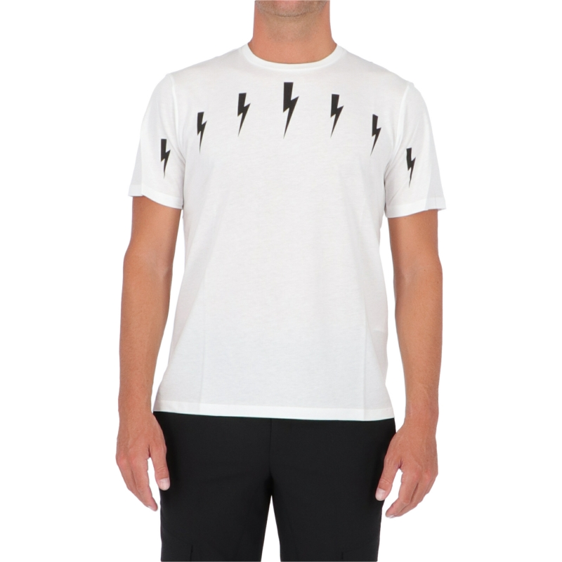 NEIL BARRET HALO BOLTS PRINT MODAL COTTON T-SHIRT