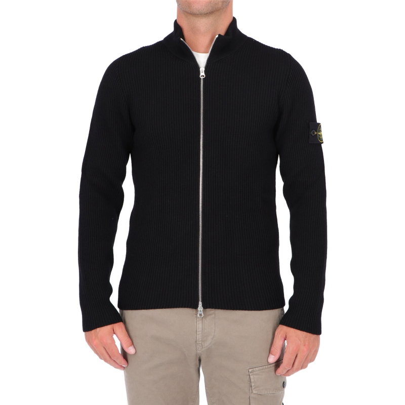 STONE ISLAND KNITTED CARDIGAN IN WOOLEN FULL RIB