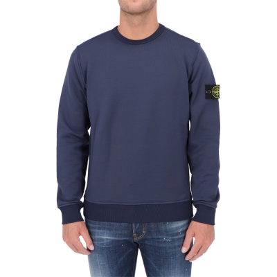 STONE ISLAND CREWNECK SWEATSHIRT IN A DOUBLE-FACED FLEECE MATERIAL