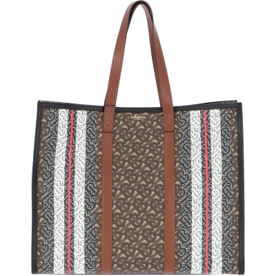 BURBERRY MONOGRAM COATED CANVAS SHOPPING BAG