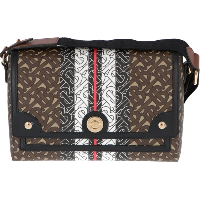 BORSA A TRACOLLA NOTE IN TESSUTO MONOGRAM BURBERRY