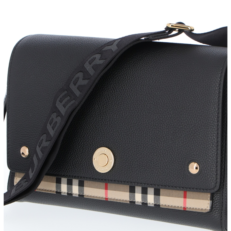 BORSA A TRACOLLA NOTE IN PELLE E TESSUTO CHECK BURBERRY