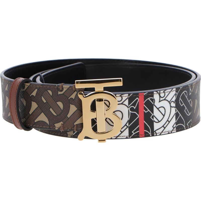 BURBERRY LEATHER AND MONOGRAM BELT