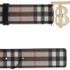 BURBERRY CHECK CANVAS AND LEATHER BELT