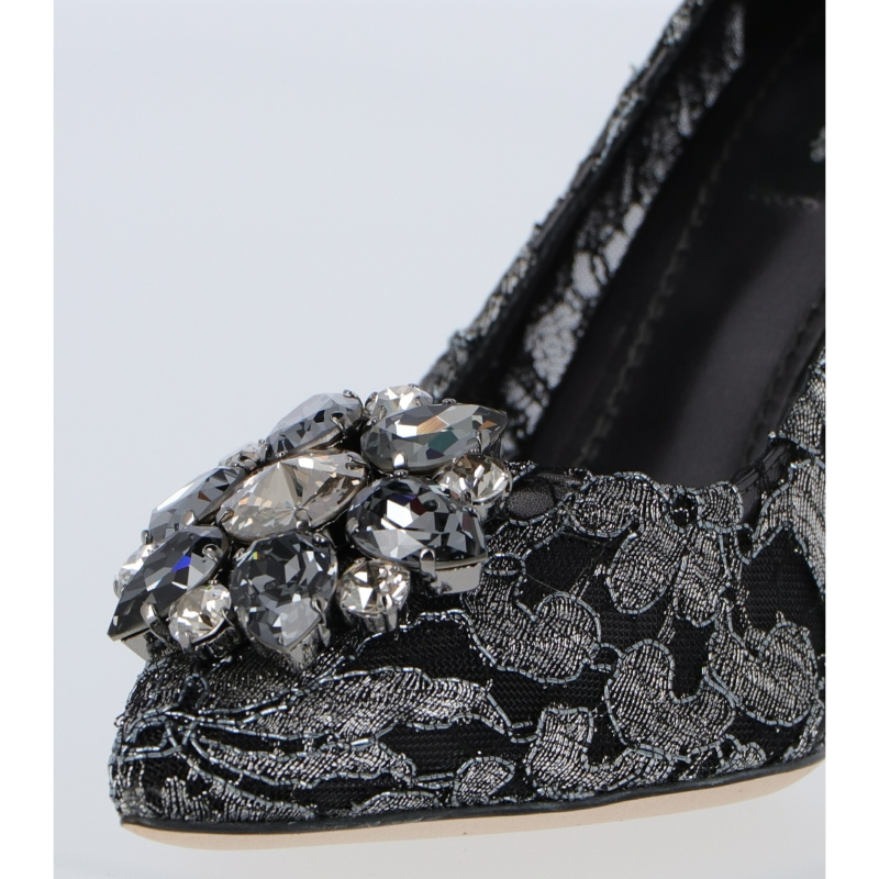 DOLCE & GABBANA BELLUCCI LACE PUMP WITH CHRYSTALS