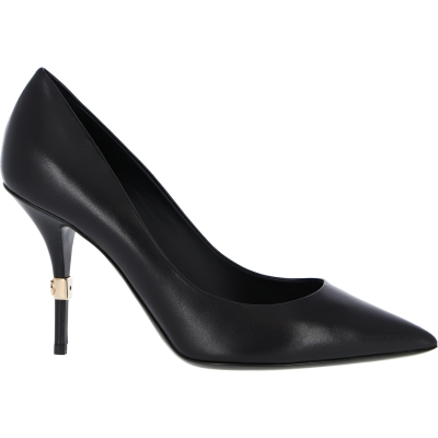 DOLCE & GABBANA CARDINALE LEATHER PUMP FEATURES GOLDEN DETAIL