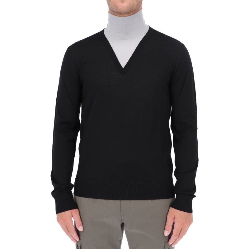DOLCE & GABBANA DOUBLE COLLAR TURTLE-NECK WOOL SWEATER
