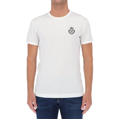 DOLCE & GABBANA EMBROIDED DG LOGO COTTON T-SHIRT