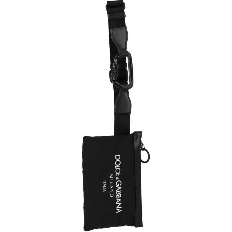 DOLCE & GABBANA FLAT PALERMO TECNICO BELT BAG IN NYLON WITH LOGO PRINT