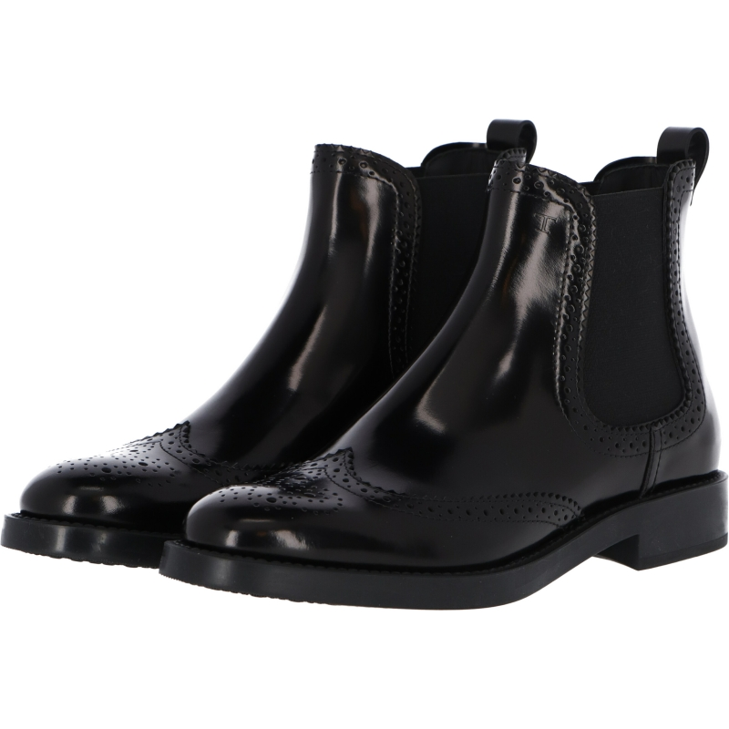 TOD'S PERFORATED LEATHER ANKLE BOOTS