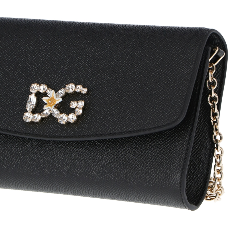 DOLCE & GABBANA DAUPHINE LEATHER MINI CROSSBODY BAG