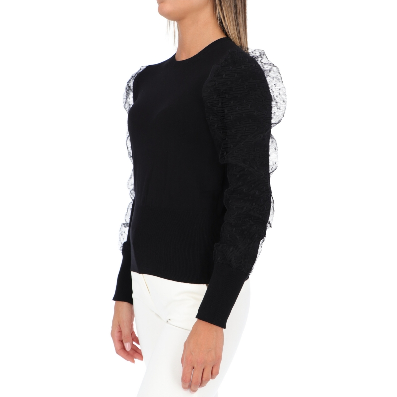 RED VALENTINO VISCOSE POINT D'ESPRIT SWEATER