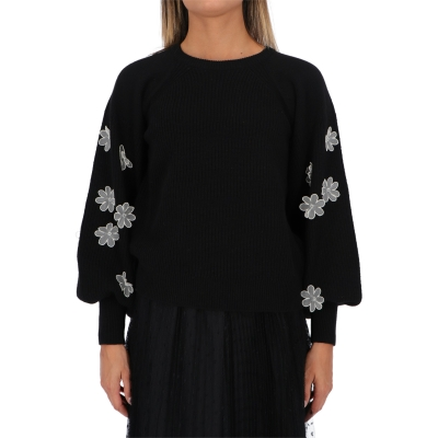 MAGLIONE IN LANA CON FIORI APPLICATI RED VALENTINO