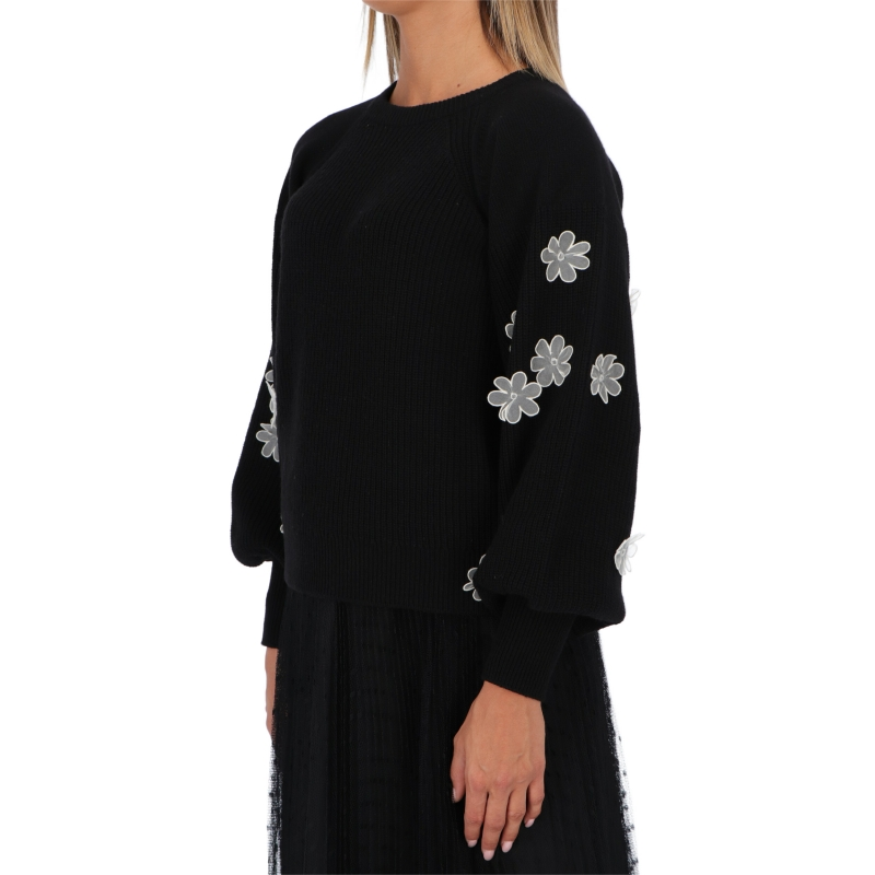 RED VALENTINO WOOL PULLOVER WITH FLOWER APPLICATION