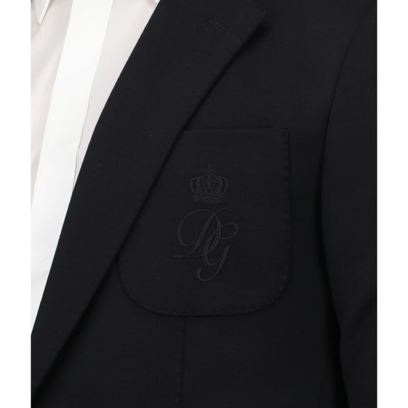DOLCE & GABBANA DECONSTRUCTED STRECH JERSEY JACKET WITH DG EMBROIDERY