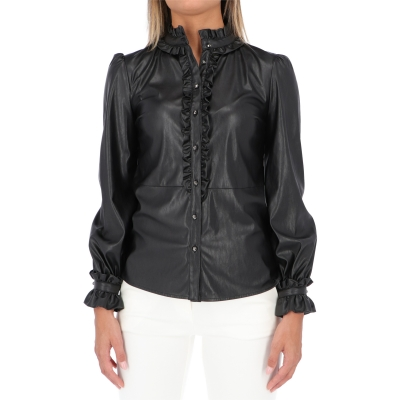 PINKO BRUNO FAUX LEATHER SHIRT