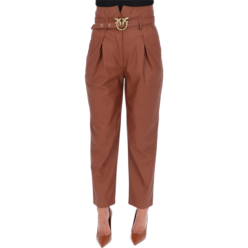 PINKO FAUX LEATHER HIGH WAIST AURELIO TROUSERS
