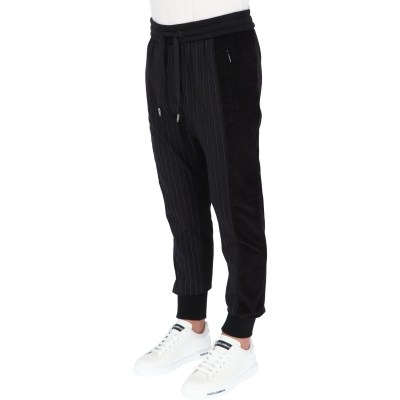 DOLCE & GABBANA PINSTRIPE AND RIBBED VELVET JOGGER TROUSERS