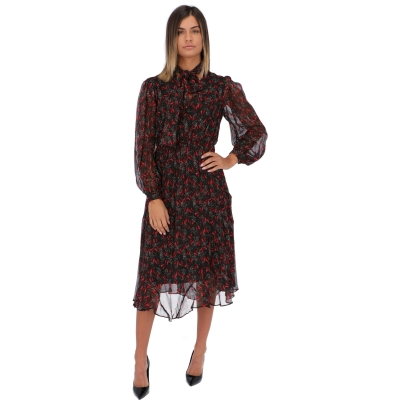 PINKO PRINTED SILK GEORGETTE GARDENIA DRESS