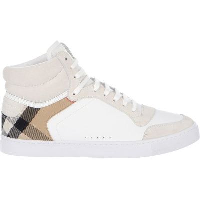 BURBERRY LEATHER AND HOUSE CHECK HIGH-TOP SNEAKERS