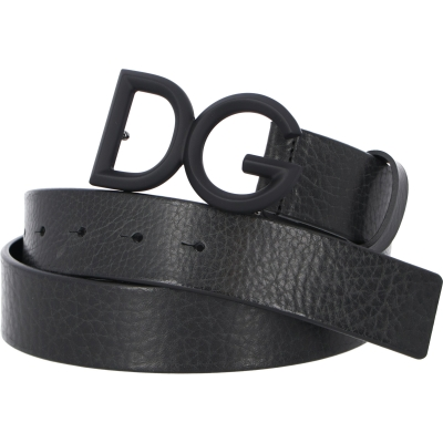 DOLCE & GABBANA TUMBLED LEATHER BELT WITH DG LOGO