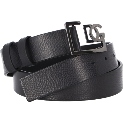 DOLCE & GABBANA TUMBLED LETHER BELT WITH GD FRAME LOGO