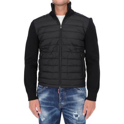 MONCLER DOWN PADDED WOOL AND NYLON CARDIGAN