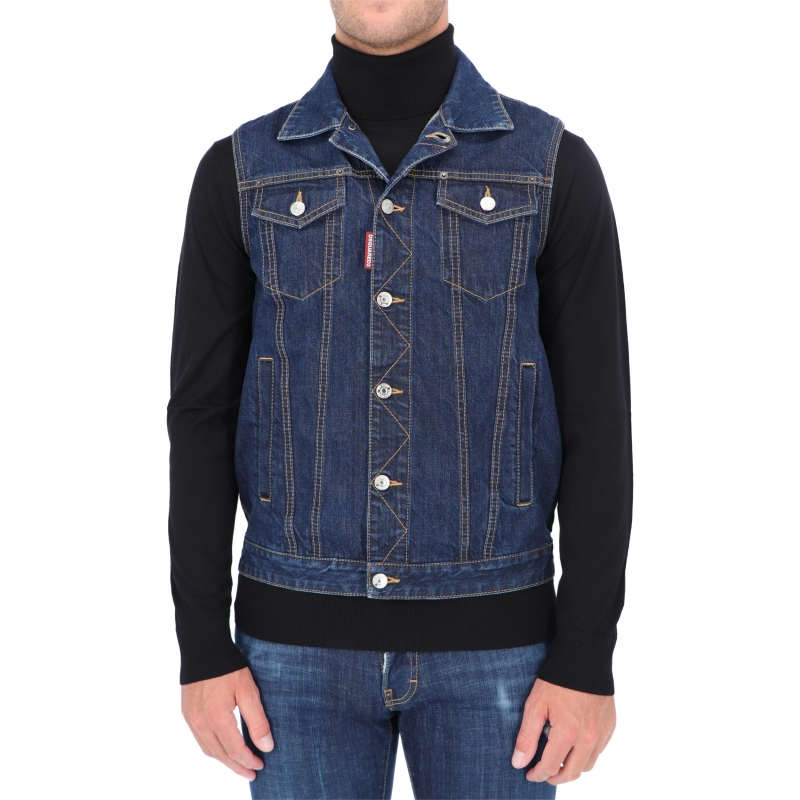 DSQUARED2 KNIT BACK DENIM VEST