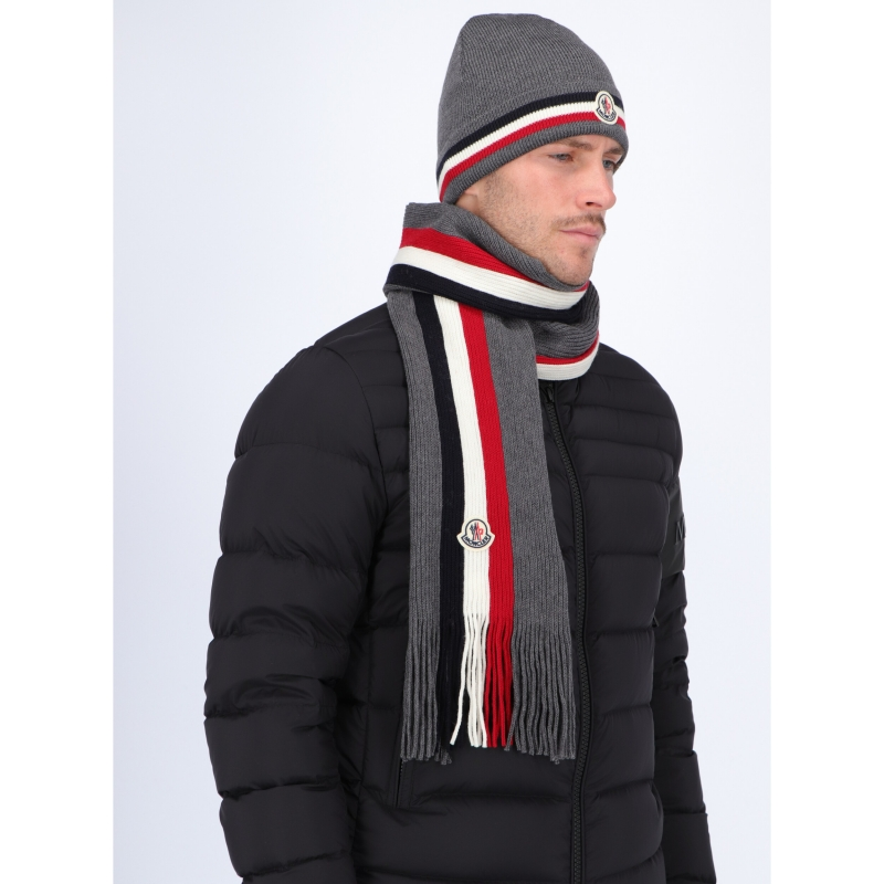 MONCLER WOOL SCARF WITH TRICOLOUR INLAY