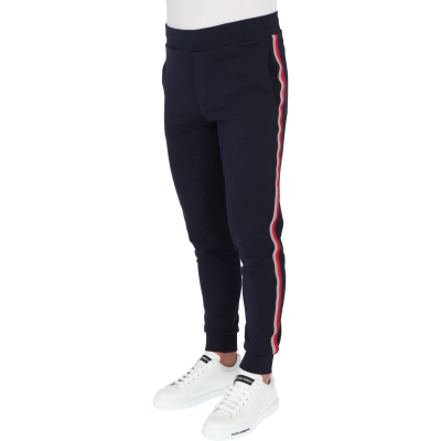 MONCLER COTTON FRENCH TERRY JOGGER TROUSERS WITH REFLECTIVE TRICOLOUR RIBBON