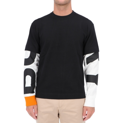 BURBERRY LOGO PRINT SLEEVE COTTON T-SHIRT