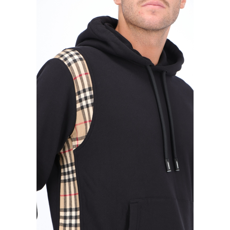 BURBERRY VINTAGE CHECK PANEL COTTON HOODIE