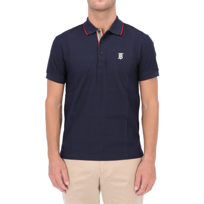 BURBERRY WALTON ICON STRIPE PLACKET COTTON PIQUÉ