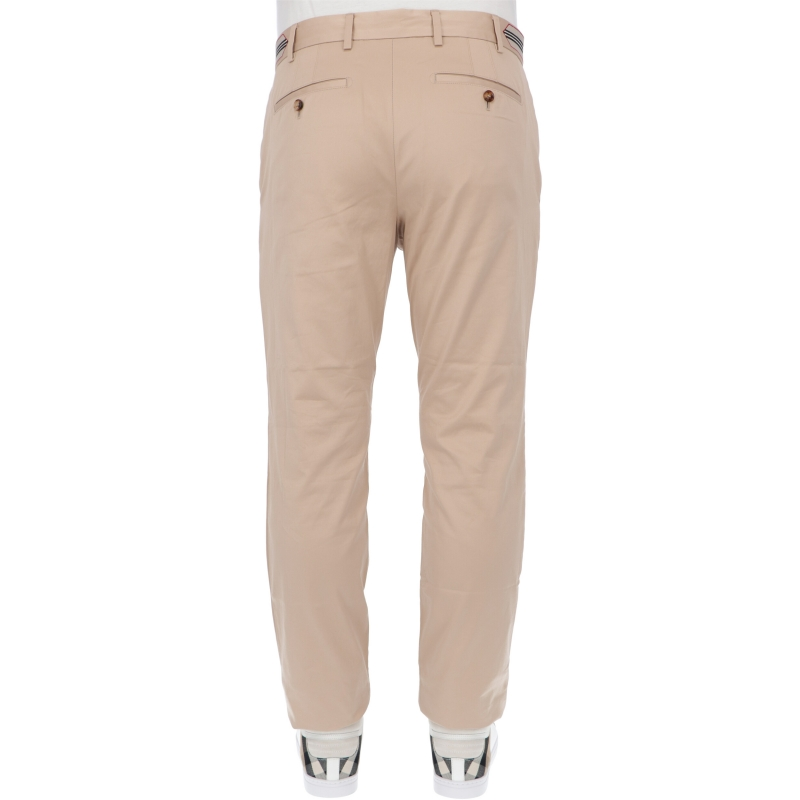 BURBERRY CLASSIC FIT STRIPE DETAIL COTTON TAILORED TROUSERS
