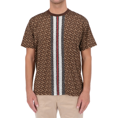BURBERRY MONOGRAM STRIPE PRINT COTTON T-SHIRT