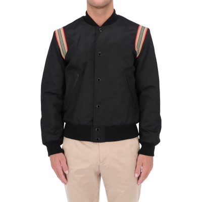 BURBERRY ICON STIPE TRIM TWILL BOMBER JACKET