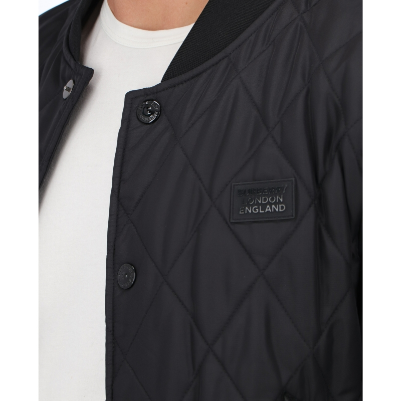 BURBERRY LOGO APLIQUÉ DIAMON QUILTED NYLON CANVAS JACKET
