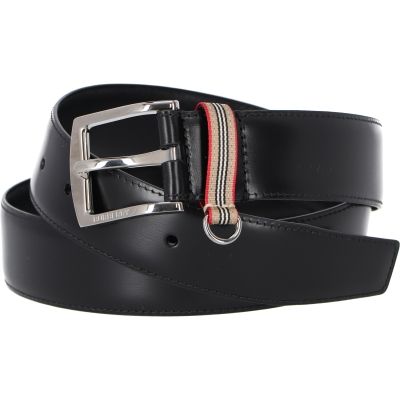 BURBERRY ICON STRIPE DETAIL LEATHER BELT