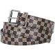 BURBERRY CHEQUER PRINT AND LEATHER BELT