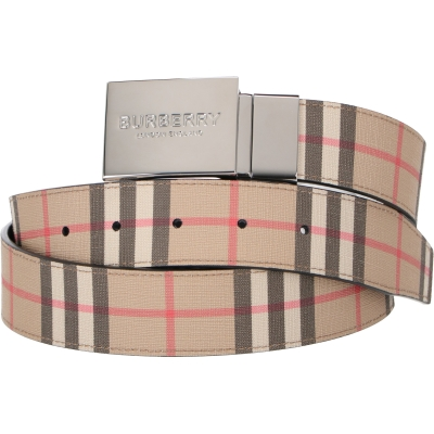 BURBERRY REVERSIBLE PLAQUE BUCKLE VINTAGE CHECK E-CANVAS BELT