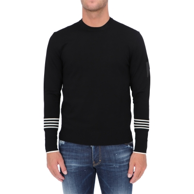 NEIL BARRETT TRAVEL TECHNO STRIPPED CUFF JUMPER
