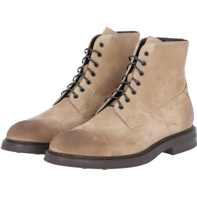DOUCAL'S AGED FINISH SUEDE LACE-UP ANKLE BOOT
