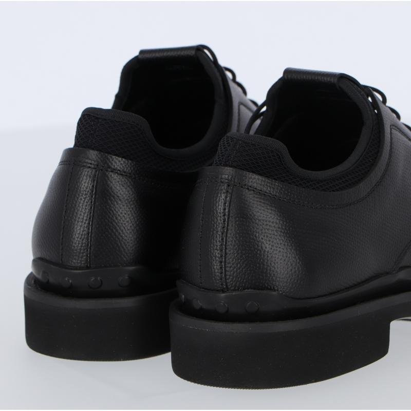 TOD'S LEATHER LACE-UPS WITH HIGH TECH FABRIC INSERT